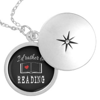 I'd rather be reading silver plated necklace