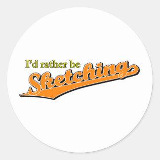 I'd rather be Sketching in Orange Sticker