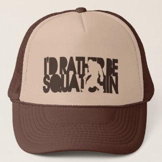 I'd rather be Squatchin' - Dark Brown Trucker Hat