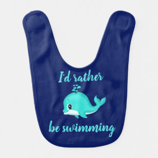 I'd rather be swimming! Kawaii Cartoon Teal Whale Bib