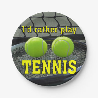I'd Rather Play Tennis Paper Plate