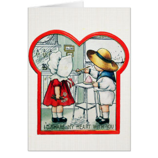 I'd Share My Heart - Vintage Valentine Card