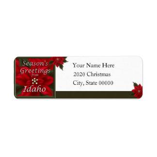 Idaho Christmas Ponsettia Return Address Label