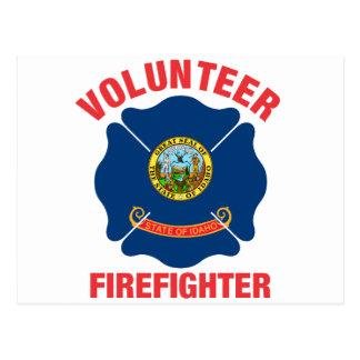 Idaho Flag Volunteer Firefighter Cross Postcard