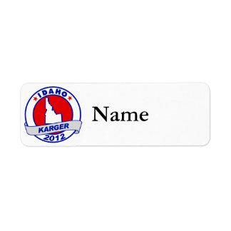 Idaho Fred Karger Return Address Label