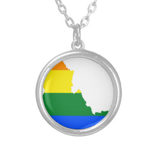 Idaho LGBT Flag Map Silver Plated Necklace