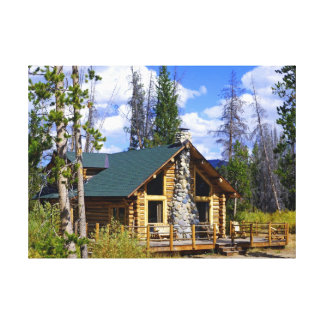 Idaho Log Cabin Stretched Canvas Print