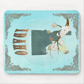 Idaho Map With Lovely Birds Mousepads