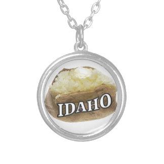 Idaho potato label silver plated necklace
