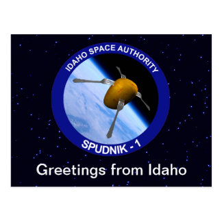 Idaho Spudnik Satellite Mission Patch Postcard