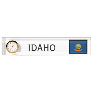 Idaho State Flag Desk Clock by Janz Name Plate