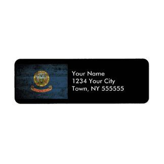 Idaho State Flag on Old Wood Grain Return Address Label
