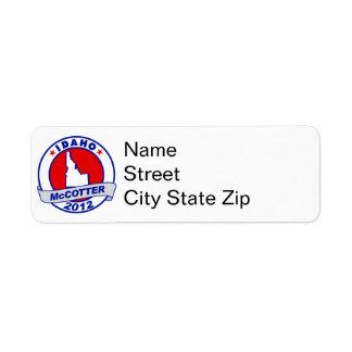 Idaho Thad McCotter Return Address Label