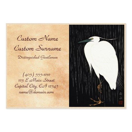 Ide Gakusui White Heron in Rain ukiyo-e japanese Business Card
