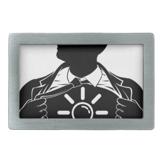 Idea Business Man Superhero Tearing Shirt Chest Belt Buckles