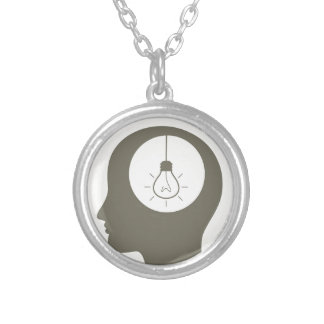 Idea in a head silver plated necklace