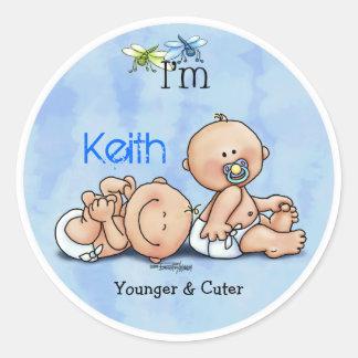 Identical Twin Boys Round Sticker