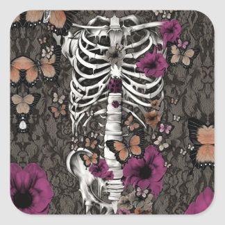 Idiopathic Idiot floral lace skeleton Sticker