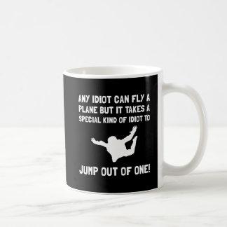 Idiot Skydiving Basic White Mug