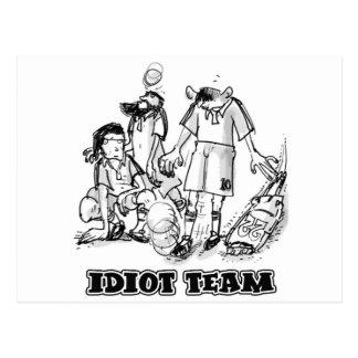 idiot team stupid soccer players cartoon postcard