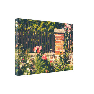 Idyllic Garden With Pink Roses Gallery Wrapped Canvas