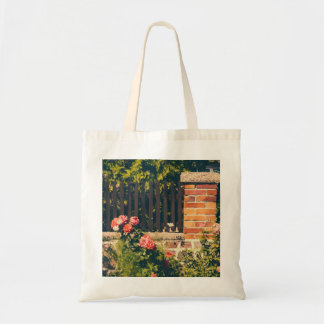 Idyllic Garden With Roses, Wooden Fence Budget Tote Bag