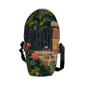 Idyllic Garden With Roses Wooden Fence Courier Bags