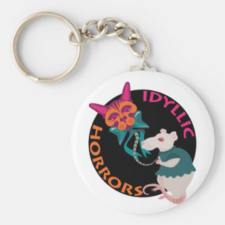 Idyllic Horrors cat and mouse funny keychain
