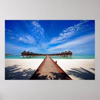 Idyllic Symmetry. Water Villas. Maldives Poster
