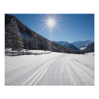 idyllic winter landscapes in the berwanger tal, poster