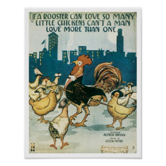 If A Rooster Vintage Songbook Cover Print