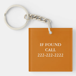 IF FOUND Phone Number Monogram Lost and Found Double-Sided Square Acrylic Key Ring