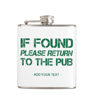 If found Return To the Pub Funny St. Patricks Day Hip Flask