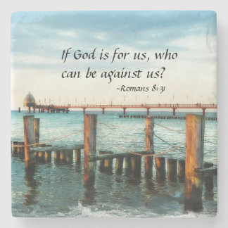 If God is for us who can be against us Romans 8:31 Stone Coaster