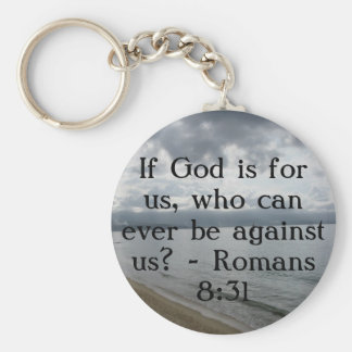 If God is for us, who can ever be against us? Basic Round Button Key Ring