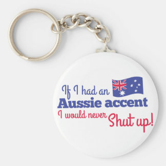 if I had an Aussie Accent I would never shut up Basic Round Button Key Ring