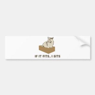 If It Fits, I Sits Cat Bumper Sticker