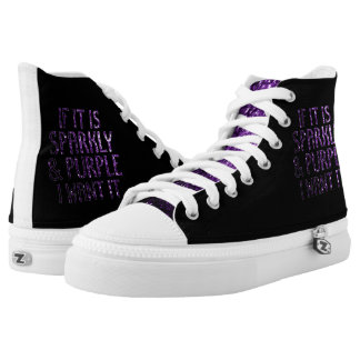 If it is Sparkly and purple I want it | Black Printed Shoes