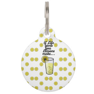 """If Life Gives You Lemons Make.."" & Lemon Pattern Pet ID Tag"
