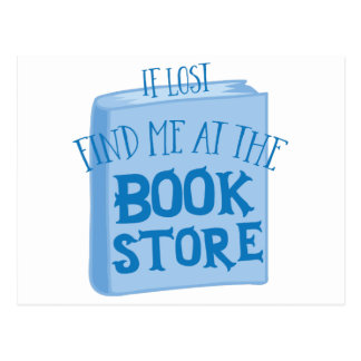 if lost find me at the book store postcard