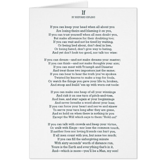 IF Poem by Rudyard Kipling Card