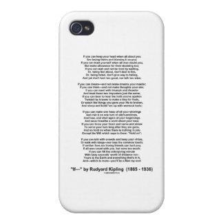 """If"" Poem By Rudyard Kipling (No Kipling Picture) Cases For iPhone 4"