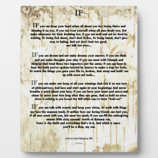 IF Quote by Rudyard Kipling (jungle book author) Plaque