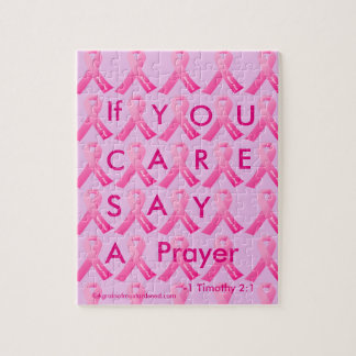 If U Care Say A Prayer Pink Ribbon Jigsaw Puzzle