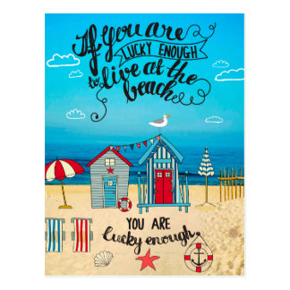 If You Are Lucky Enough| Script Beach Quote Postcard