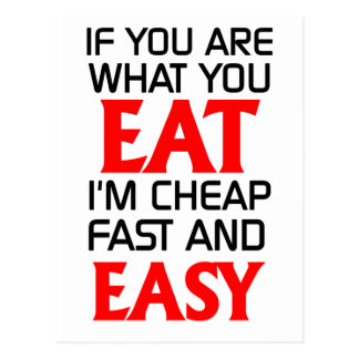 If you are what you eat funny postcard