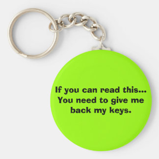If you can read this... basic round button key ring
