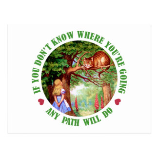IF YOU DON'T WHERE YOU'RE GOING, ANY PATH WILL DO POSTCARD