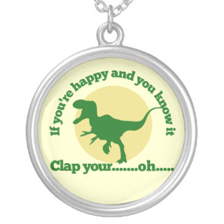 If youre happy and you know it silver plated necklace
