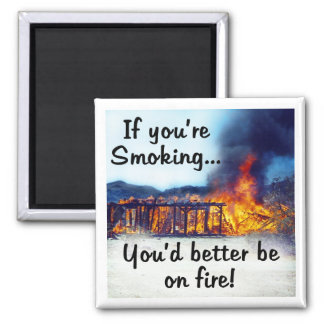 If you're smoking you'd better be on fire! magnet